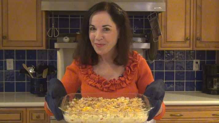 Bonnie with Mom's 'Chicken' Casserole - hot out of the oven